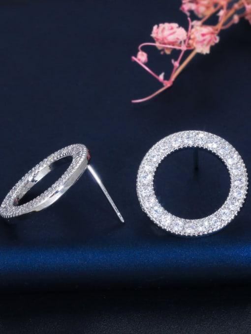 L.WIN Brass Cubic Zirconia Round Luxury Stud Earring 4