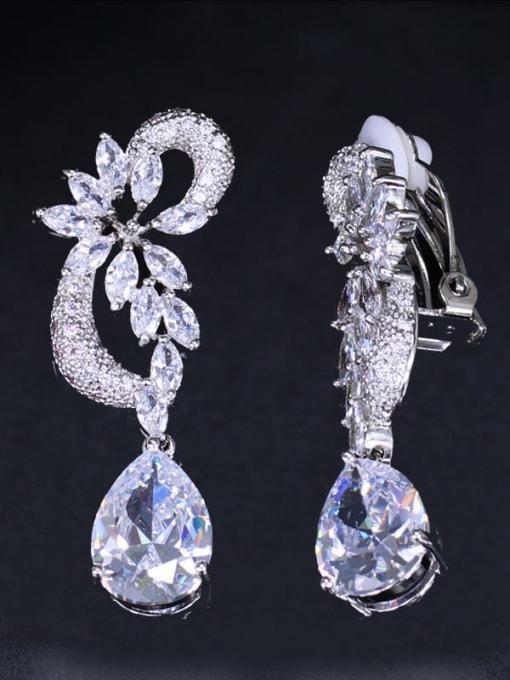 Ear clip white Brass Cubic Zirconia Flower Luxury Drop Earring