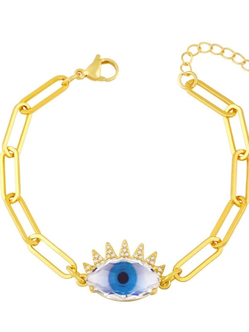 blue Brass Enamel Evil Eye Vintage Link Bracelet
