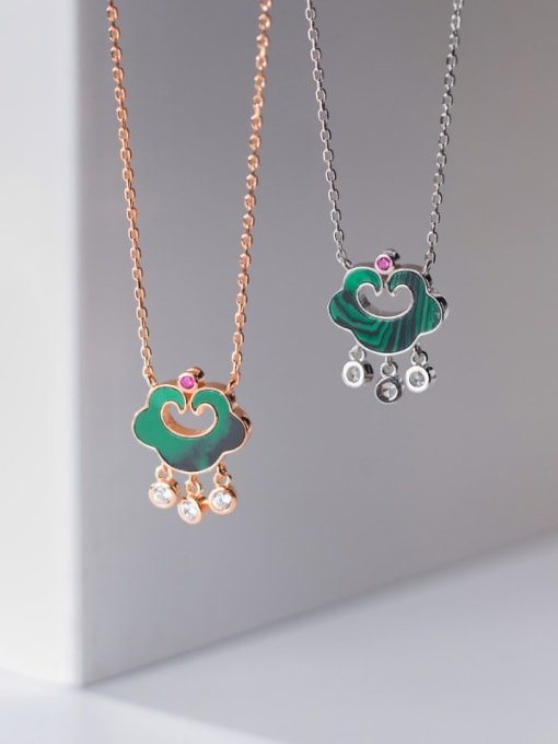 Rosh 925 Sterling Silver Enamel Cloud Vintage Necklace 3