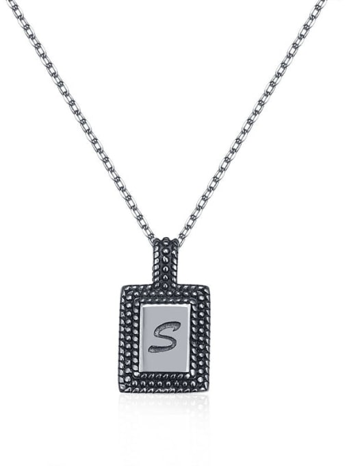 Boomer Cat 925 Sterling Silver Geometric Letter Vintage Necklace