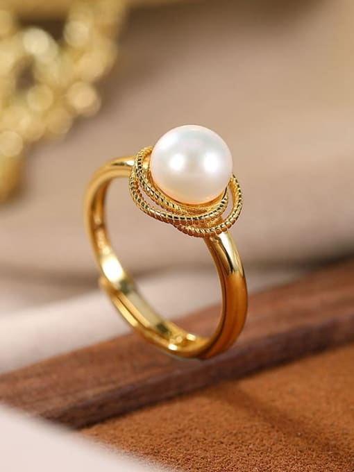 DEER 925 Sterling Silver Freshwater Pearl Round Vintage Band Ring