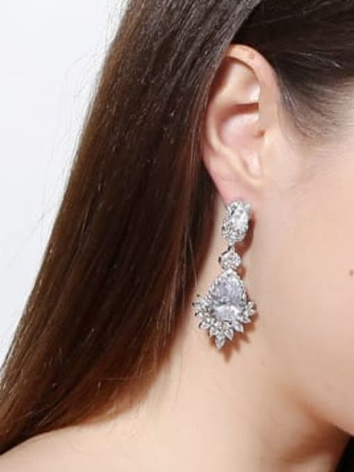 L.WIN Brass Cubic Zirconia Flower Luxury Drop Earring 1