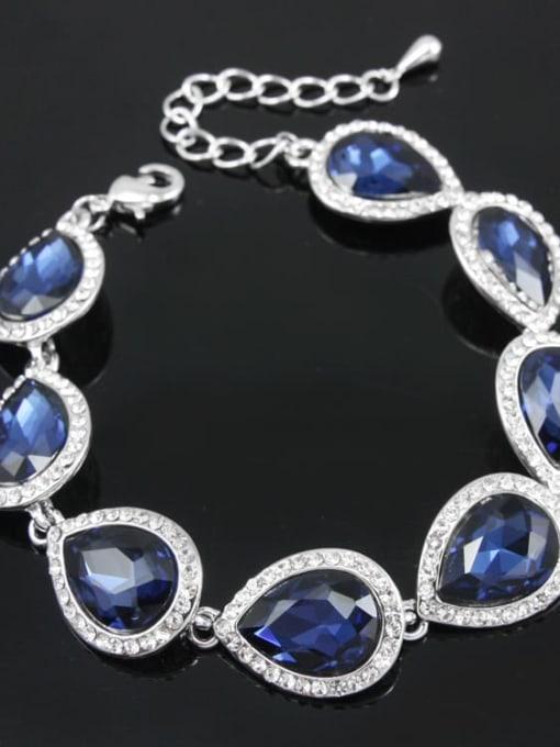 Cymbidium sinense Brass Glass Stone Water Drop Luxury Bracelet