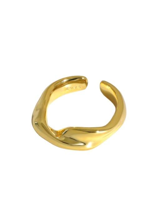 DAKA 925 Sterling Silver Irregular Minimalist Band Ring 4