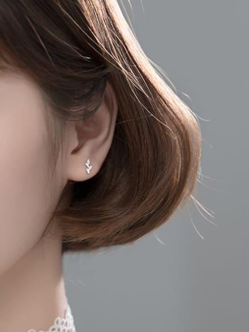 Rosh 925 Sterling Silver Cubic Zirconia Leaf Minimalist Stud Earring 1