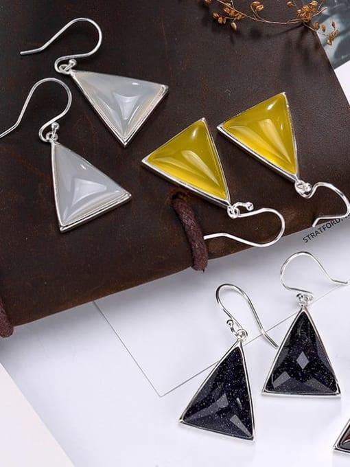 DEER 925 Sterling Silver Garnet Triangle Vintage Hook Earring 2