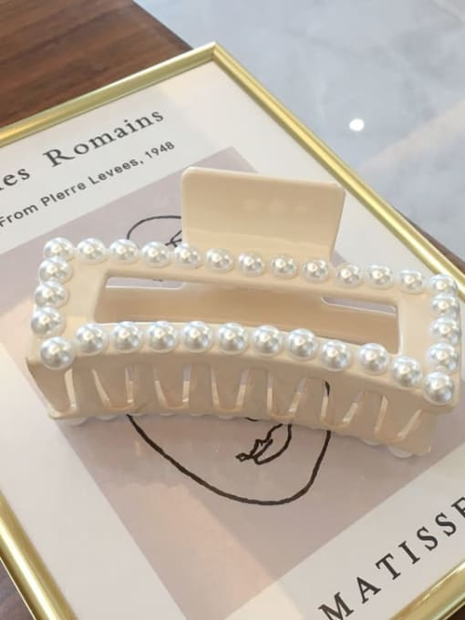 Beige 10.5cm Cellulose Acetate Trend Geometric Imitation Pearl Jaw Hair Claw