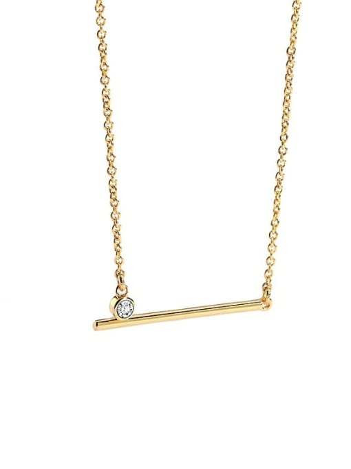 CHARME Brass Rhinestone Geometric Minimalist Necklace 3
