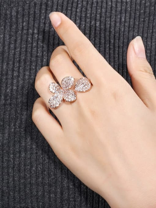 L.WIN Brass Cubic Zirconia Flower Luxury Statement Ring 1