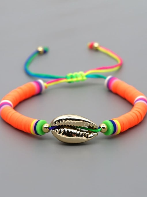 B B200013G Stainless steel Multi Color Polymer Clay Geometric Bohemia Adjustable Bracelet