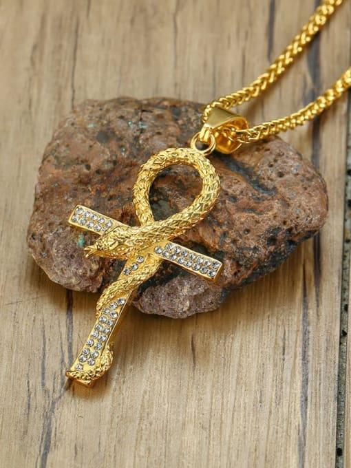 CONG Titanium Steel Rhinestone Cross Vintage Necklace 1