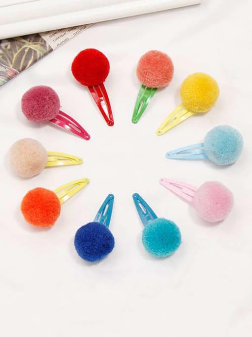 YOKI KIDS Alloy Feather Cute Round ball  Multi Color Hair Barrette 2