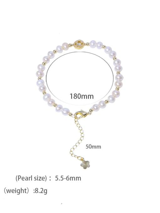 Freshwater pearl bracelet Brass Freshwater Pearl Round Minimalist Beaded Bracelet