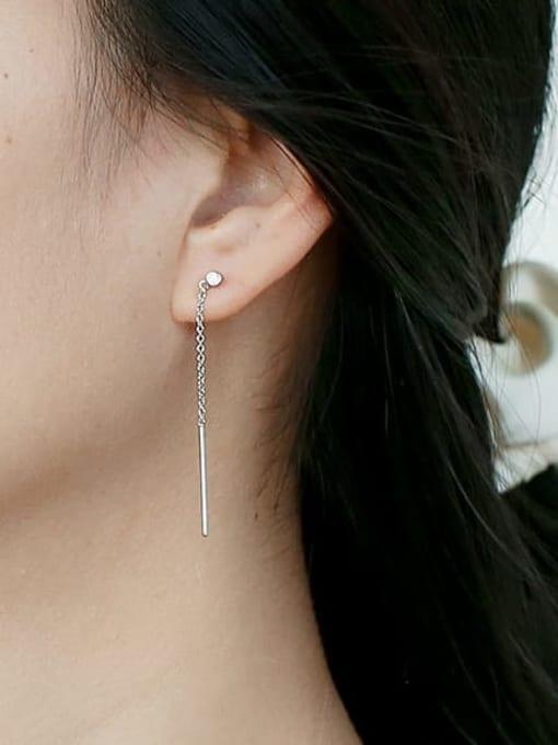 CHARME Brass Geometric Tassel  Minimalist Threader Earring 1