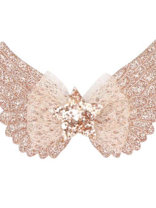 2 rose gold Alloy  Silk Cute Butterfly Multi Color Hair Barrette