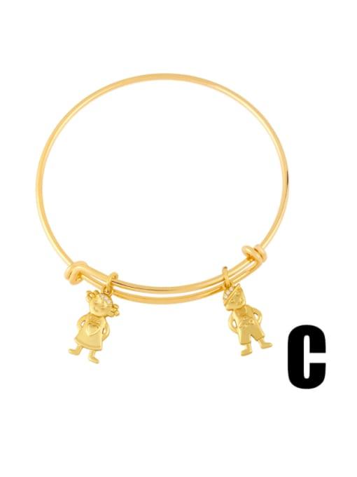C Brass Cubic Zirconia Irregular Vintage Adjustable Bracelet