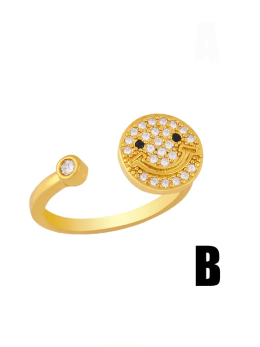 B Brass Cubic Zirconia Smiley Vintage Band Ring