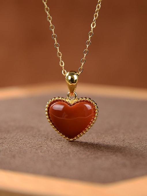 DEER 925 Sterling Silver Carnelian Heart  Vintage Pendant