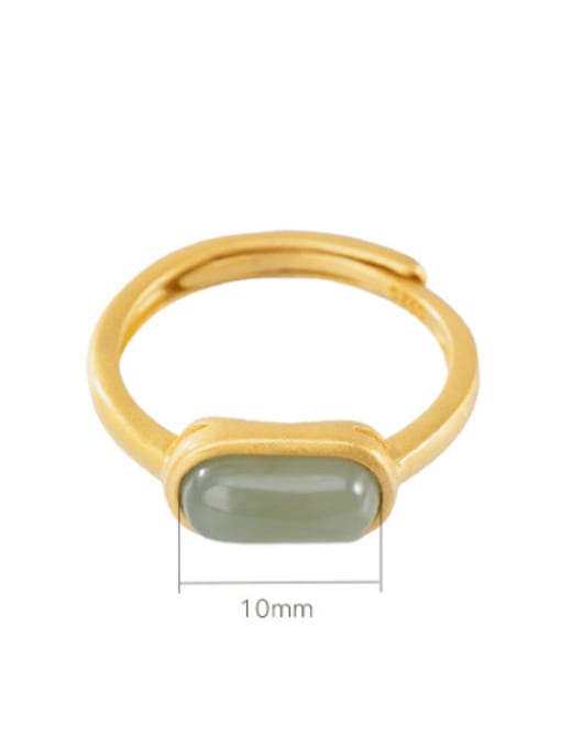 DEER 925 Sterling Silver Jade Geometric Minimalist Band Ring 2
