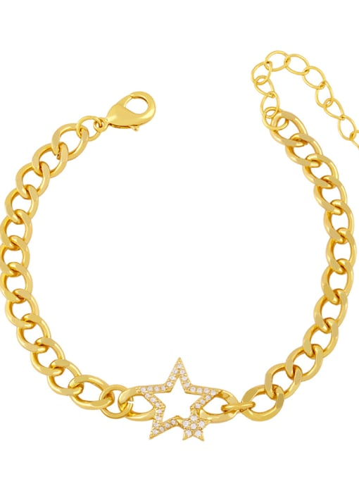 CC Brass Cubic Zirconia Star Trend Hollow Chain Bracelet 0