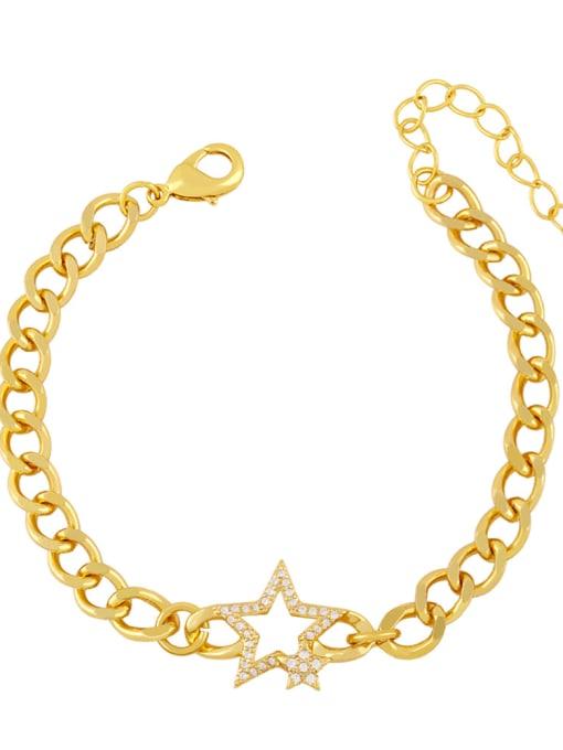 D Brass Cubic Zirconia Star Trend Hollow Chain Bracelet