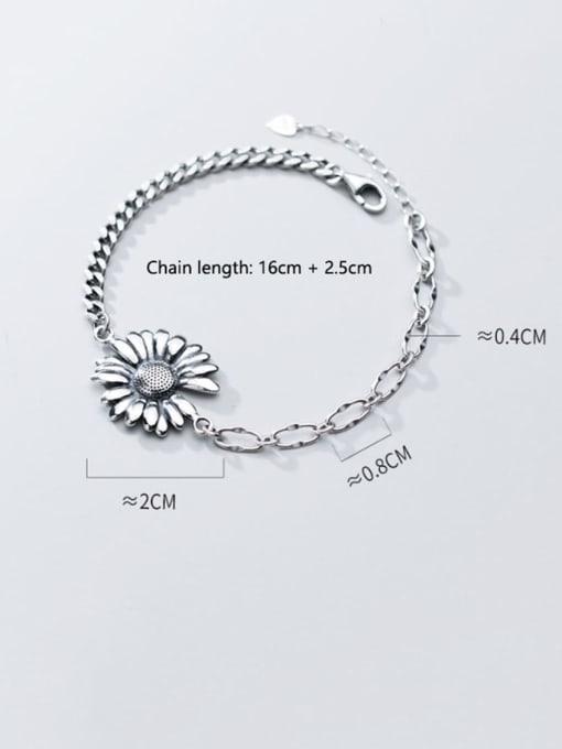 Rosh 925 Sterling Silver Rhinestone White Flower Vintage Link Bracelet 2