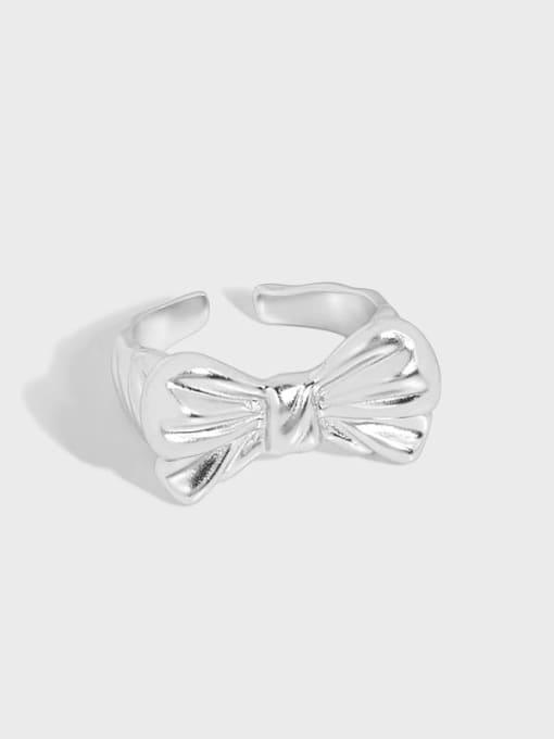 DAKA 925 Sterling Silver Bowknot Vintage Band Ring 2