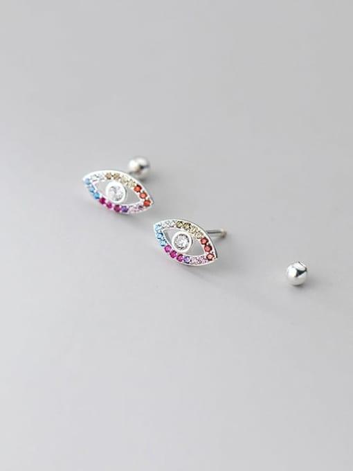 silver 925 Sterling Silver Cubic Zirconia Evil Eye Cute Stud Earring