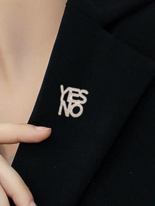 Luxu Brass Cubic Zirconia Letter Minimalist Brooch 1