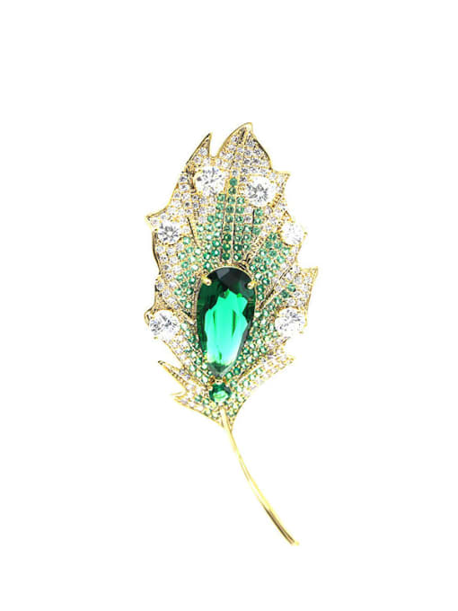 Luxu Brass Cubic Zirconia Leaf Statement Brooch 3