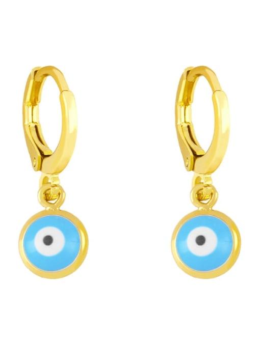 Light blue Brass Enamel Evil Eye Minimalist Huggie Earring