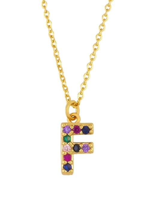 F Brass Cubic Zirconia Letter Vintage Necklace