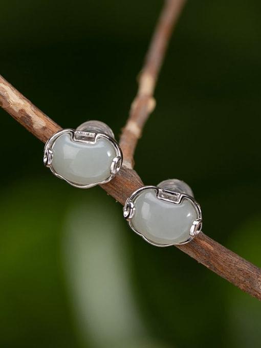 DEER 925 Sterling Silver Jade Cloud Vintage Stud Earring 0