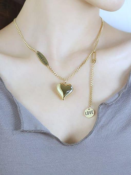Open Sky Titanium Steel Heart Minimalist Lariat Necklace 2