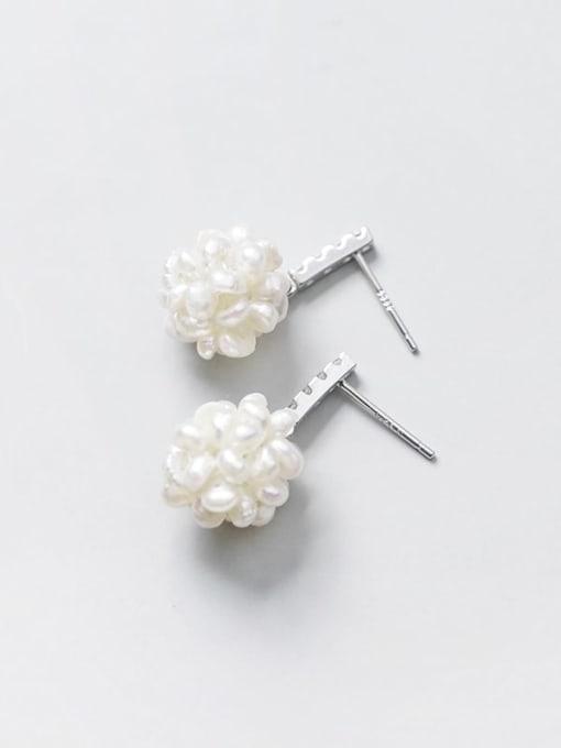 Rosh 925 Sterling Silver Imitation Pearl Ball Minimalist Stud Earring 2