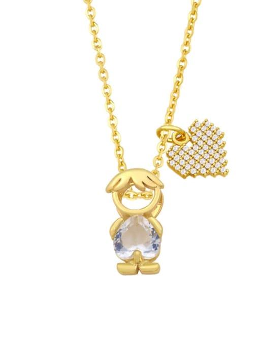 D (Boy White) Brass Cubic Zirconia Enamel Angel Cute Necklace