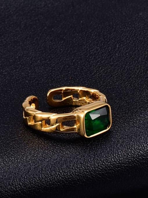 A TEEM Titanium Glass Stone Square Minimalist Band Ring 0