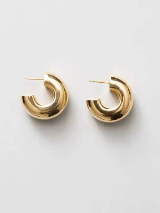 LI MUMU Brass Smooth Geometric Minimalist Drop Earring 1