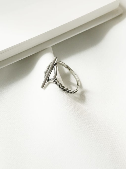 Boomer Cat 925 Sterling Silver Hollow Geometric Vintage Band Ring 2