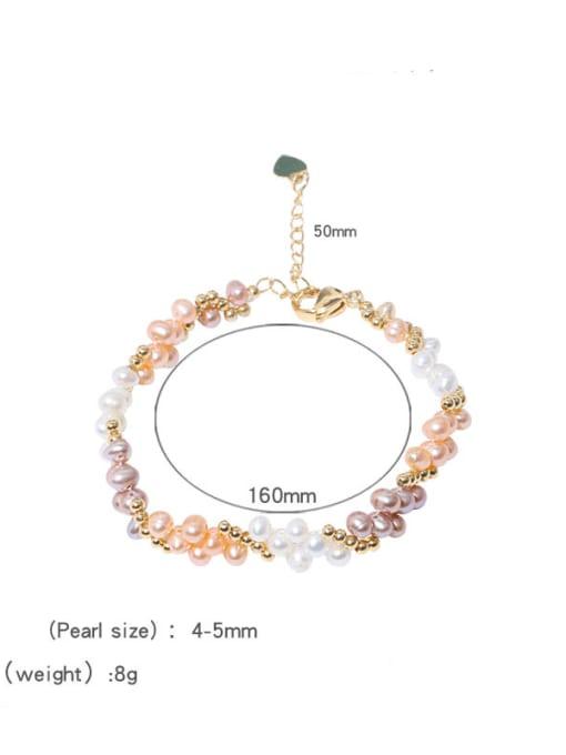 Pearl Bracelet 2 Brass Freshwater Pearl Flower Vintage Beaded Bracelet