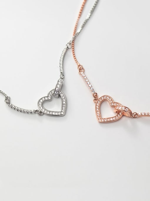 Rosh 925 Sterling Silver Cubic Zirconia Heart Minimalist Adjustable Bracelet 3