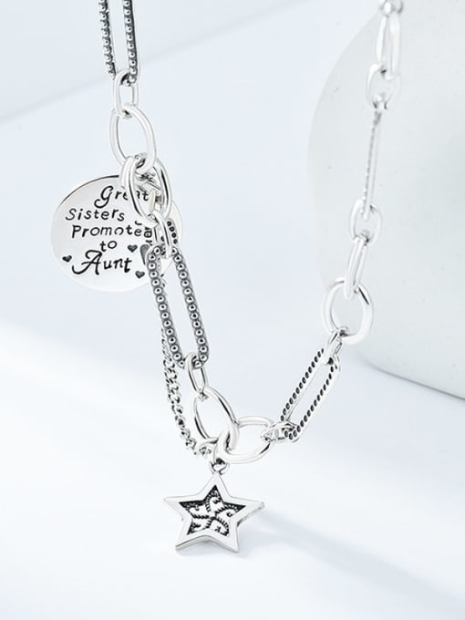 Star Letter retro Necklace 925 Sterling Silver Hollow Star Vintage Necklace