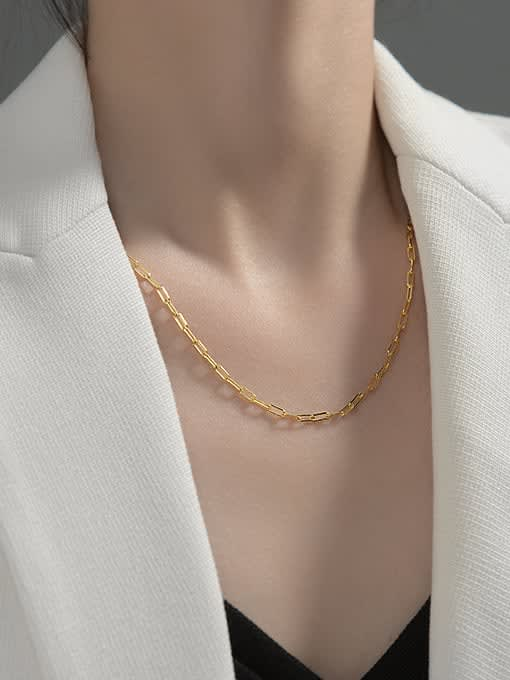 Rosh 925 Sterling Silver  Minimalist  single chain necklace short without pendant 1