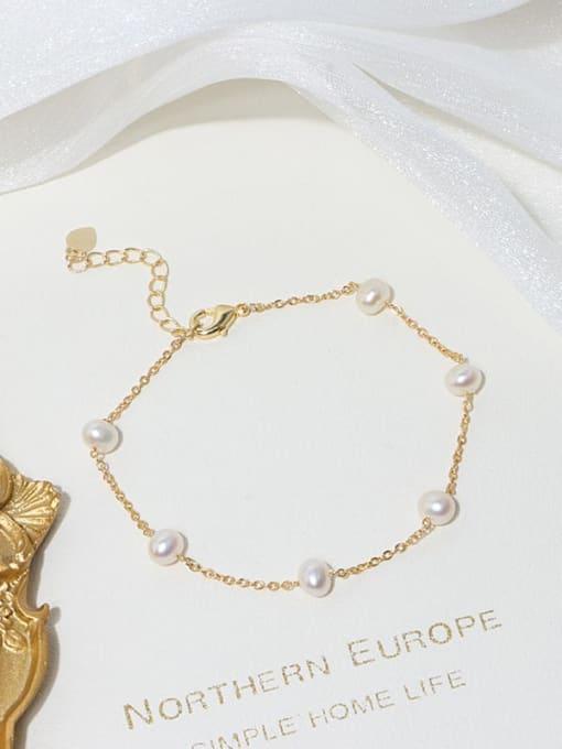 RAIN Brass Freshwater Pearl Round Minimalist Link Bracelet 2