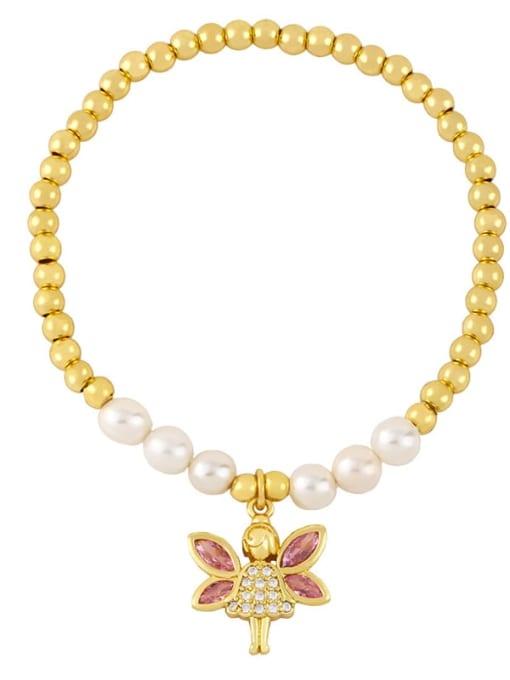 C Brass Imitation Pearl Heart Vintage Beaded Bracelet