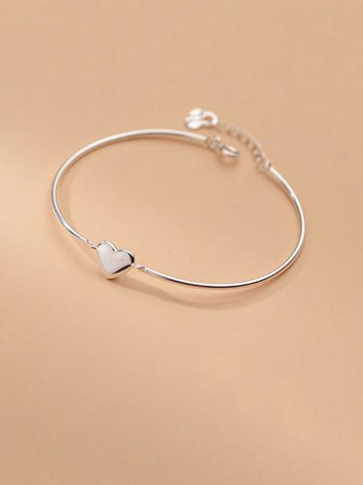Rosh 925 Sterling Silver Smooth Heart Minimalist Bracelet 1