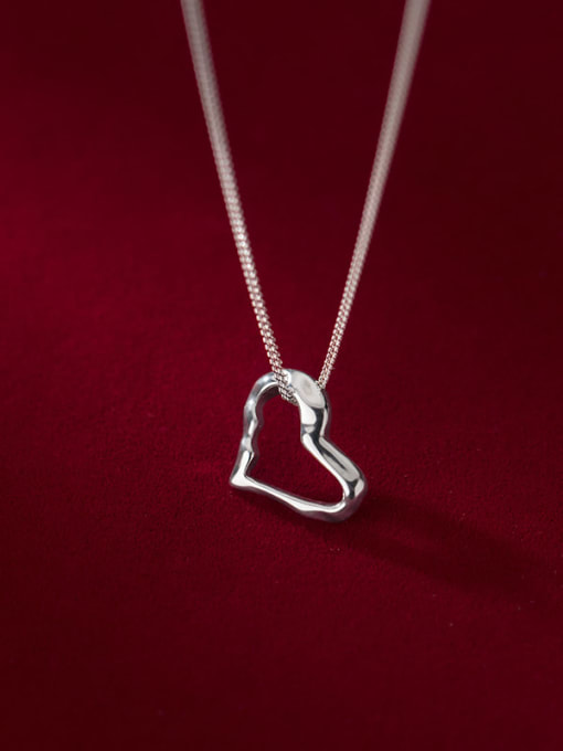 Rosh 925 Sterling Silver Hollow Heart Minimalist Necklace 2