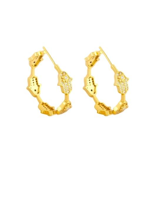 Palm Brass Cubic Zirconia Cross Vintage Stud Earring