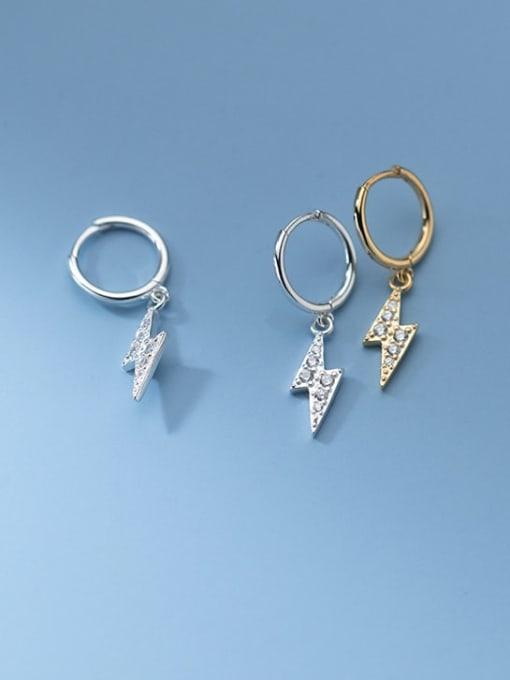 Rosh 925 Sterling Silver Cubic Zirconia Irregular Minimalist Huggie Earring